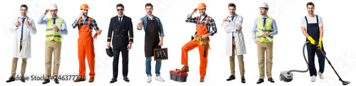 collage of handsome man showing different professions isolated on white Wallpaper Mural