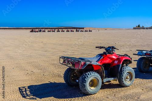 Quad bike in Arabian desert not far from the Hurghada city, Egypt