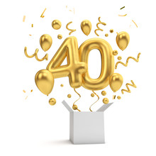Happy 40th Birthday Gold Surprise Balloon And Box. 3D Rendering