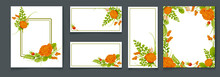Set Of Card With Flower Orange Rose, Dogrose, Fern, Leaves. Wedding Ornament Concept. White Color