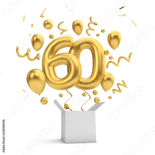 Fotografía  Happy 60th birthday gold surprise balloon and box. 3D Rendering