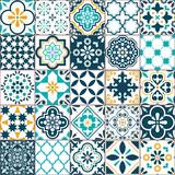 Fototapeta Kuchnia - Lisbon geometric Azulejo tile vector pattern, Portuguese or Spanish retro old tiles mosaic, Mediterranean seamless turquoise and yellow design