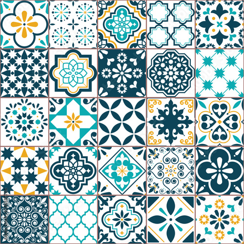 Lisbon geometric Azulejo tile vector pattern, Portuguese or Spanish retro old tiles mosaic, Mediterranean seamless turquoise and yellow design Fototapete