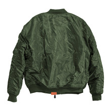 Blank Pilot Bomber Jacket Green Color Back View On White Background