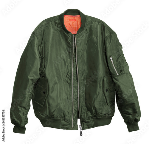 Foto Blank Pilot bomber jacket green color front view on white background