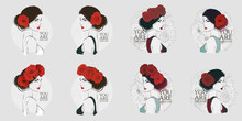 Portrait Of Young Beautiful Woman With Red Rose In Hair. Vector Hand Drawn Illustration.