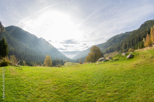 Obraz View from the mountains into the valley, Gaal in Austria - fototapety do salonu