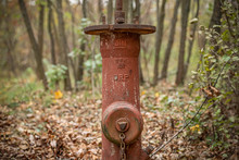 Old German Fire Hydrant Of The Third Reich Times On The Autumn Background