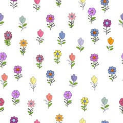 Seamless pattern with different spring flowers. Isolated elements on a white background.