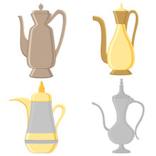 Illustration On Theme Big Colored Set Different Types Jugs