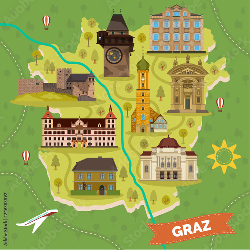 Graz town map with sightseeing landmarks Canvas-taulu