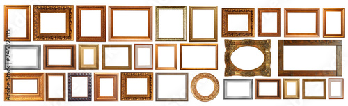 Obraz Gold interior elements of the picture frame isolated - fototapety do salonu