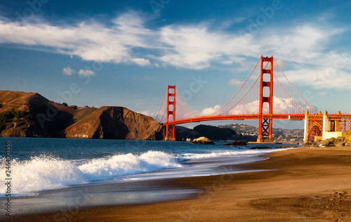 The Golden Gate Bridge w the waves Wallpaper Mural