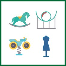 4 Park Icon. Vector Illustration Park Set. Carousel And Shopping Tolls Icons For Park Works
