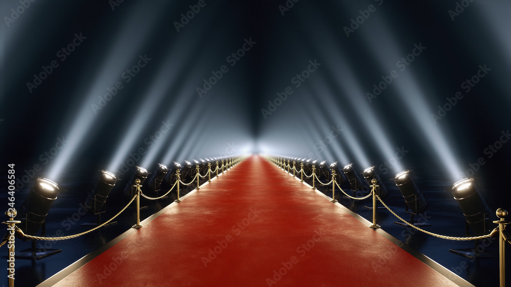 Photo  red carpet with volume light in 4k