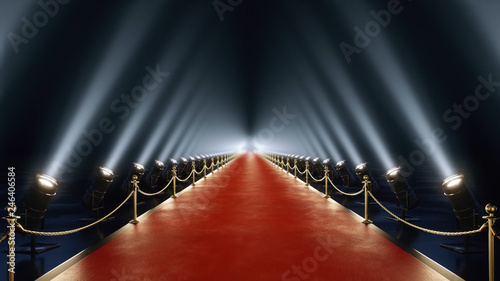 red carpet with volume light in 4k Canvas Print