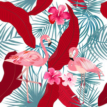 Tropical Vector Seamless Pattern With Flamingo