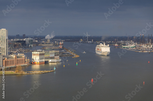 Fotobehang Poort Aerial view of the port of Amsterdam