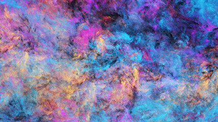 Abstract blue and purple fantastic clouds. Colorful fractal background. Digital art. 3d rendering.