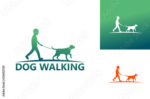 Photo  Dog Walking Logo Template Design Vector, Emblem, Design Concept, Creative Symbol