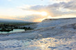 Evening landscape of hop mountain in Pamukkale Turkey at sunset