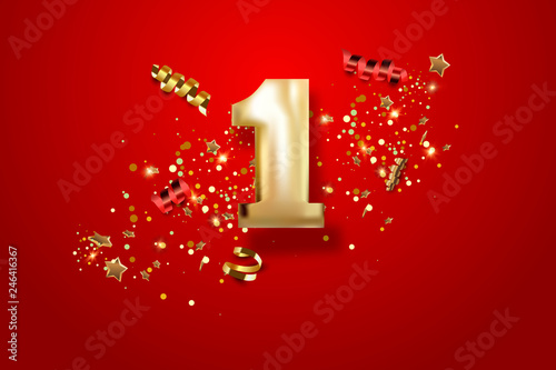 Obraz First Anniversary celebration. Golden number 1 with sparkling confetti, stars, glitters and streamer ribbons. Vector festive illustration. - fototapety do salonu