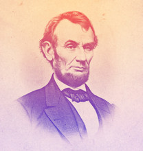 Abraham Lincoln Engraved Illustration Portrait In Line Art. He Was 16th President Of USA And Led The US Through American Civil War, Its Bloodiest War And Greatest Constitutional, Political Crisis.