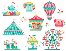 Flat Vector Set Of Amusement P...