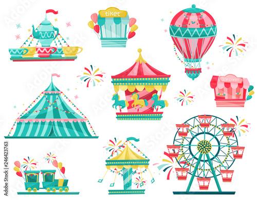 Photo Flat vector set of amusement park equipment