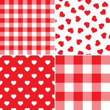 Valentine's Day Rustic Seamless Vector Pattern Tiles In Red And White Pixel Gingham Plaid And Hearts. Cute Romantic Backgrounds. Pattern Tile Swatches Included.