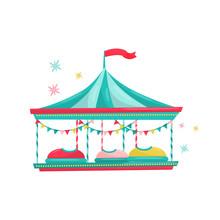 Bumper Cars Ride. Fun Carnival Attraction For Kids. Amusement Park Equipment. Entertainment Theme. Flat Vector Icon
