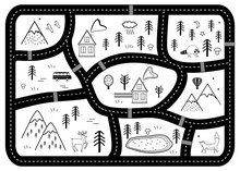 Black And White Kids Road Play Mat. Vector River, Mountains And Woods Adventure Map With Houses And Animals. Scandinavian Style Art