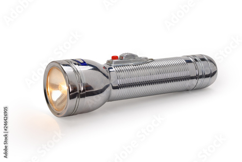 Obraz Old metal flashlight isolated on white background, contains clipping path - fototapety do salonu