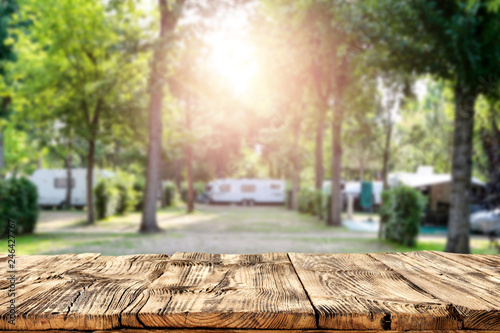 Obraz Table background of free space and camping background  - fototapety do salonu