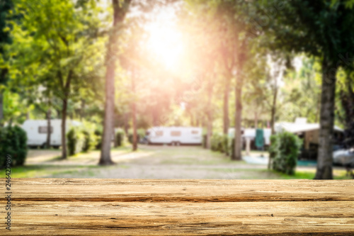 Tuinposter Kamperen Table background of free space and camping background