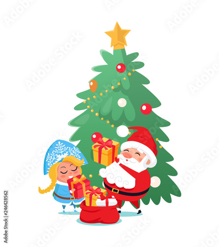 Spoed Fotobehang Voor kinderen Santa and Snow-maiden taking out gift boxes of bag in flat style. Cheerful characters holding presents with ribbons near decorated Christmas tree vector