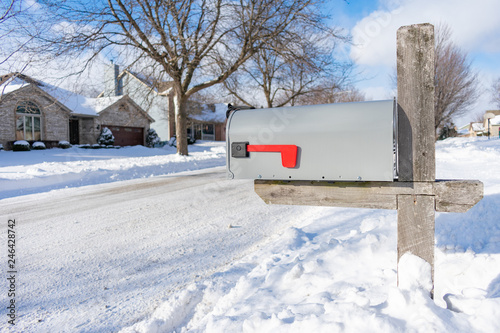 Fotografie, Obraz  A Home Mailbox buried in Snow after a Snowstorm
