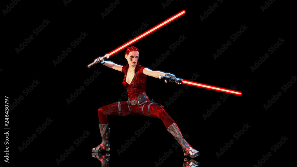 Photo  Redhead warrior girl with two sci-fi light swords, braided woman with futuristic
