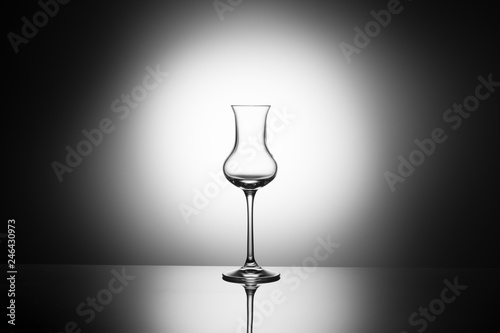 Beautiful elegant glass for grappa in the backlighting, concept of empty glass Wallpaper Mural