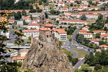 Le Puy-en-Velay, France. Saint Michel D'Aiguilhe Chapel, Built In Volcanic Plug, A World Heritage Site As Part Of The Routes Of Santiago De Compostela