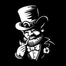 Leprechaun Engraved Vector Logo Or Label Illustration For Saint Patrick's Day Etching Linocut Style Dwarf Traditional Irish Folklore Celtic Mythology With Hat Shamrock And Pipe On Black Background
