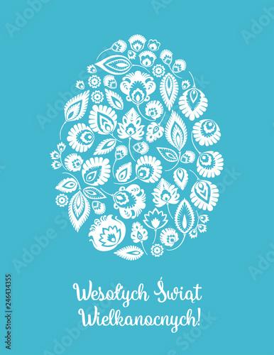 Wesołych Świąt Wielkanocnych – kartka wielkanocna z tradycyjną wycinanką łowicką na niebieskim tle