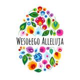 Fototapeta Kwiaty - Wesołego Alleluja – kartka wielkanocna z tradycyjną wycinanką łowicką na białym tle