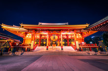 Sensoji Is An Ancient Buddhist Temple At Night In Asakusa, Tokyo, Japan.