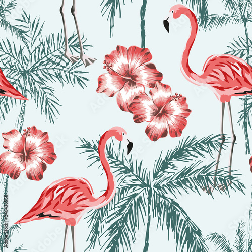 Naklejki Flamingi  naklejka-na-wymiar-pink-flamingo-palm-trees-silhouettes-red-hibiscus-flowers-light-blue-background-vector-floral-seamless-pattern-tropical-illustration-exotic-plants-and-birds-summer-beach-design-paradise-nature