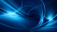 Abstract Blue On Black Background Texture. Dynamic Curves Ands Blurs Pattern. Detailed Fractal Graphics. Science And Technology Concept.