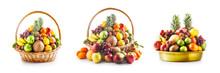 Fruit In Basket And Bowl Set, ...