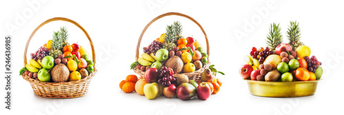 Fotografía  Fruit in basket and bowl set, winter assortment