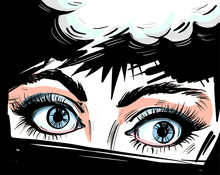 Woman Eyes Close Up Vector Illustraton With Speech Bubble , Surprised Wow Feminine Pop Art Retro Comic Style Face