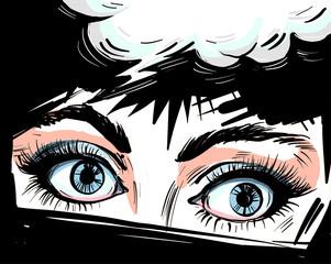 Woman eyes close up vector ...